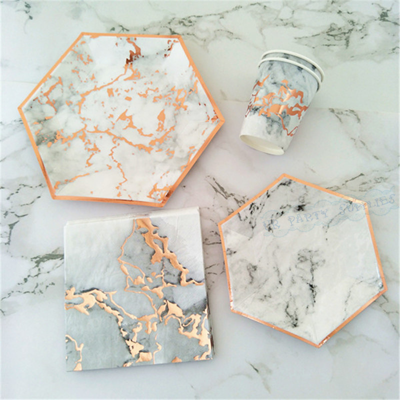 24 Sets Marbling Rose Gold Disposable Tableware Paper Cups Plates Napkins Straws For Home Kids Birthday
