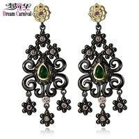DreamCarnival 1989 Ethnic Flowers Tassel Earrings For Women Vintage Green CZ Dangle Party Jewelry Drop Pendientes