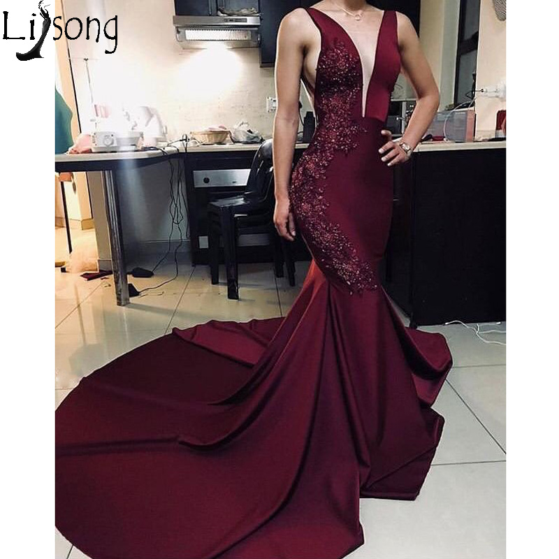 Burgundy Mermaid   Prom     Dresses   Deep V neck Sleeveless Beads Appliqued Long Evening   Dress   Robe de soiree Zipper Back Abendkleider