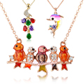 Nandudu Animal Pendant Necklaces Bird/Peacock/Dolphin Multi-color Crystal Necklace  Gold Plated Jewelry Gift  N44 N70 N91