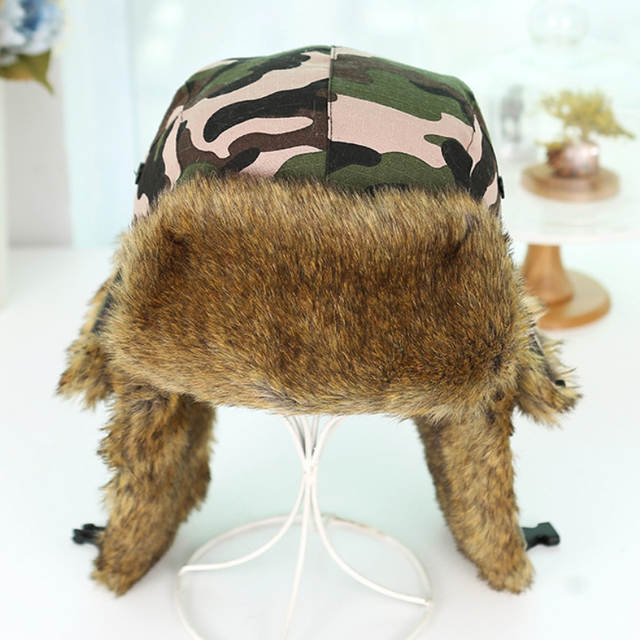625556b8d7eca HT1379 Unisex Winter Warm Bomber Hats Men Women Russian Ushanka Caps  Classic Camouflage Faux Fur Trapper