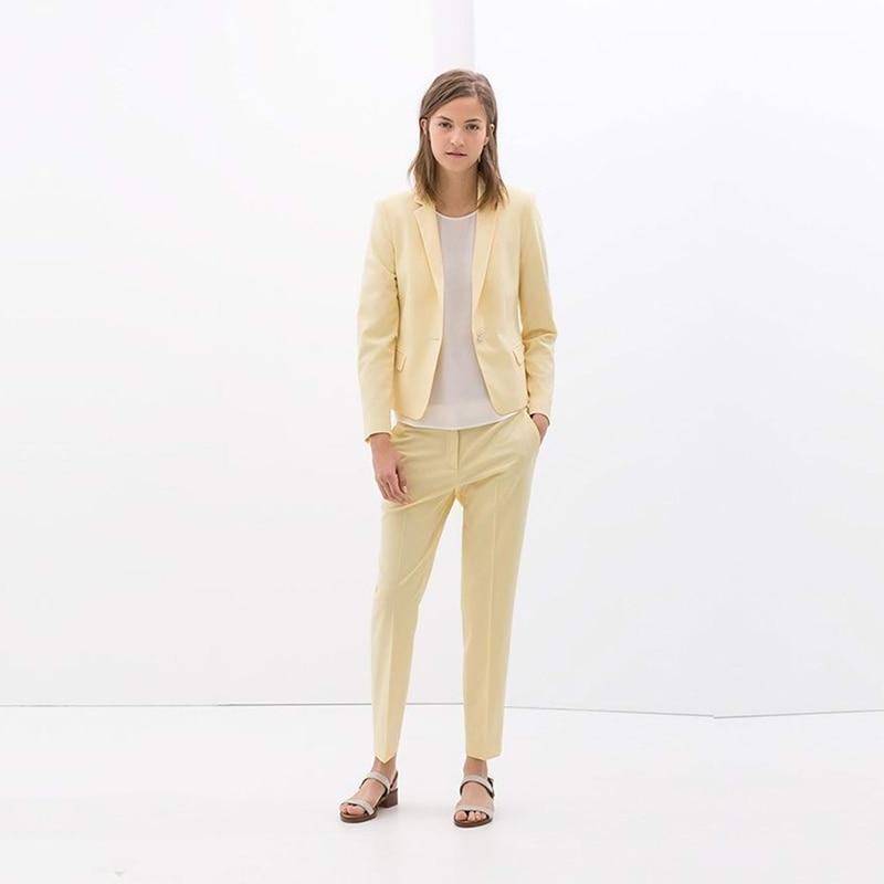 Yellow Women Business Suits Ladies Formal Peak Lapel Office Uniform Style 2 Piece Work Wear Women Tuxedos Female Trouser Suit