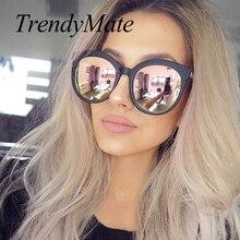 Women Luxury Brand Sunglasses Cat Eye Ladies Pink Rose Gold Sunglasses Women 2017 UV400 Mirror Sun Glasses Lunette Femme 741M