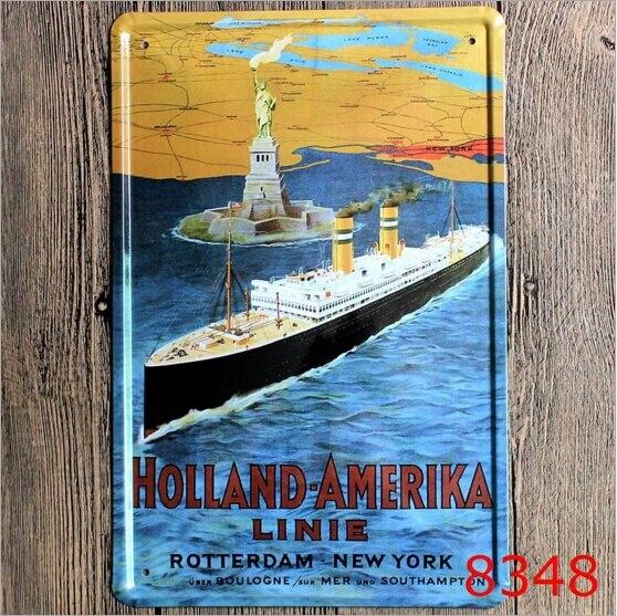 20x30cm Holland America Linie Tin Sign Art Wall Decoration