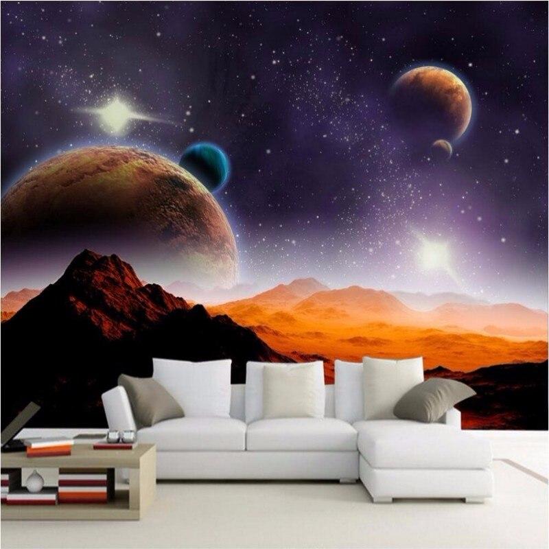 Beibehang Simple Custom Wallpaper Modern Space Planets
