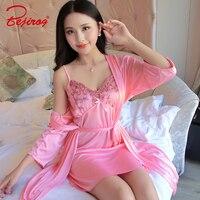 Bejirog camisolas sensuais para as mulheres lace nightie sleepshirt lingerie pijamas 2 peças menina homewear feminino senhoras roupas de cetim