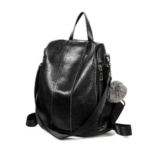 купить Women's Backpack Genuine Leather College Student Backpacks School For Teenagers Girls Ladies Travel Bag 2019 new Feminina C632 по цене 1430.28 рублей