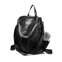 Womens Backpack Genuine Leather College Student Backpacks School For Teenagers Girls Ladies Travel Bag 2019 new Feminina C632