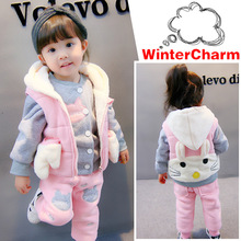 hot deal buy winter kids clothing sets hello kitty warm cotton velvet girls suit 3pcs coats vest pants overcoat toddler girl winter clothes