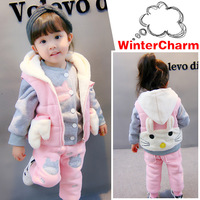 Winter Kids Clothing Sets Hello Kitty Warm Cotton Velvet Girls Suit 3pcs Coats Vest Pants Overcoat Toddler Girl Winter Clothes