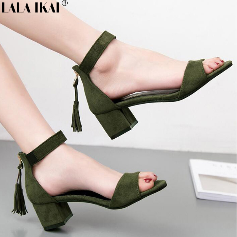 LALA IKAI Sandals Women High Heels Fashion Fringe Square Heel Summer Sexy Heeled Sandals Ladies Sandals Female XWC1949-5 women stiletto square high heel ankle strap sandals summer sexy fashion ladies heeled footwear heels shoes size 34 43 p17742