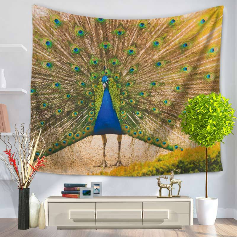 Painted Peacock Beautiful Sight Printed Wall Hanging Tree Natural Scenery Tapestry Livin ...