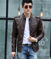 Plus size stand collar leather jacket men 2016 new leather coat men short slim motorcycle leather clothing male outerwear red