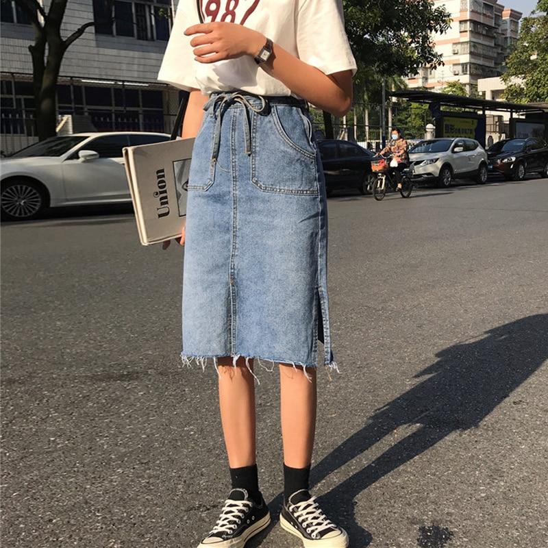 Venta al por mayor barata 2018 nueva venta caliente del verano de las mujeres de moda Casual Sexy Denim estilo medio falda L19