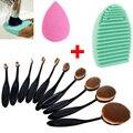12 unids/lote pinceaux maquillage cepillo de dientes forma ovalada base de maquillaje cepillo cosmético esponja del soplo de polvo de lavado de silicona brushegg