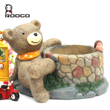 Roogo 12 hot sale resin garden flower pot mini animal plant home decorative succulent bonsai planter creative gifts ideas