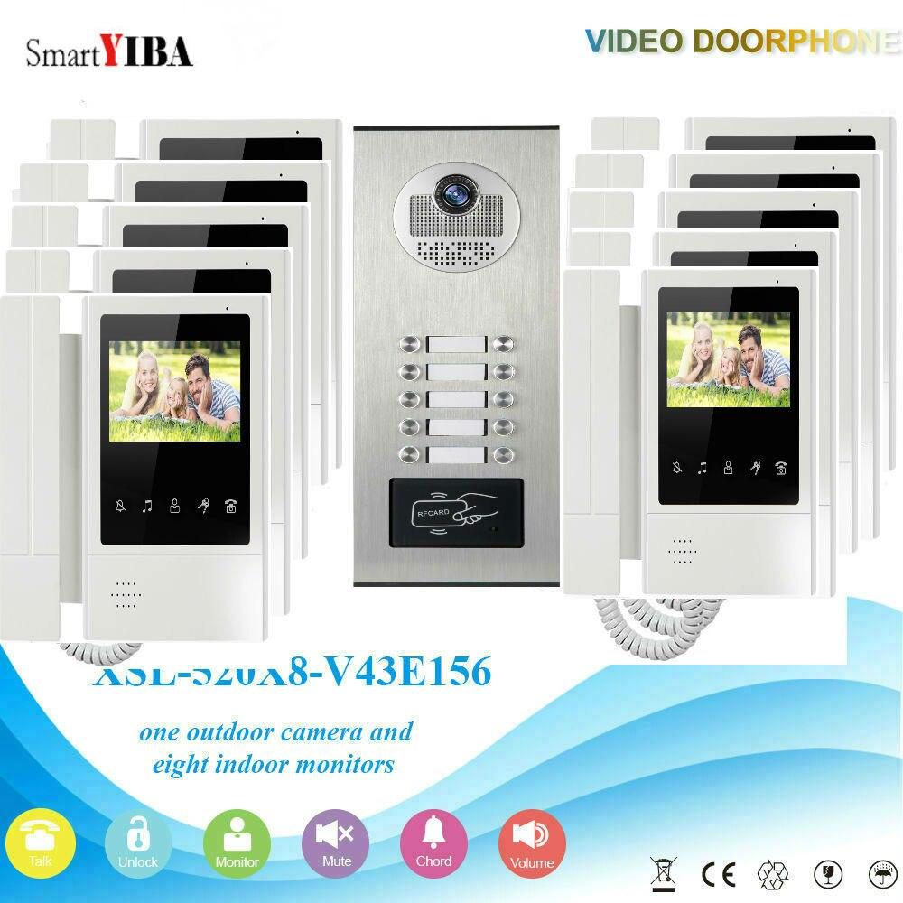 SmartYIBA 10 Unités Appartement Interphone Kit RFID Accès IR Caméra + 10 pcs Moniteurs D'intérieur Interphone Vidéo Porte Téléphone Système