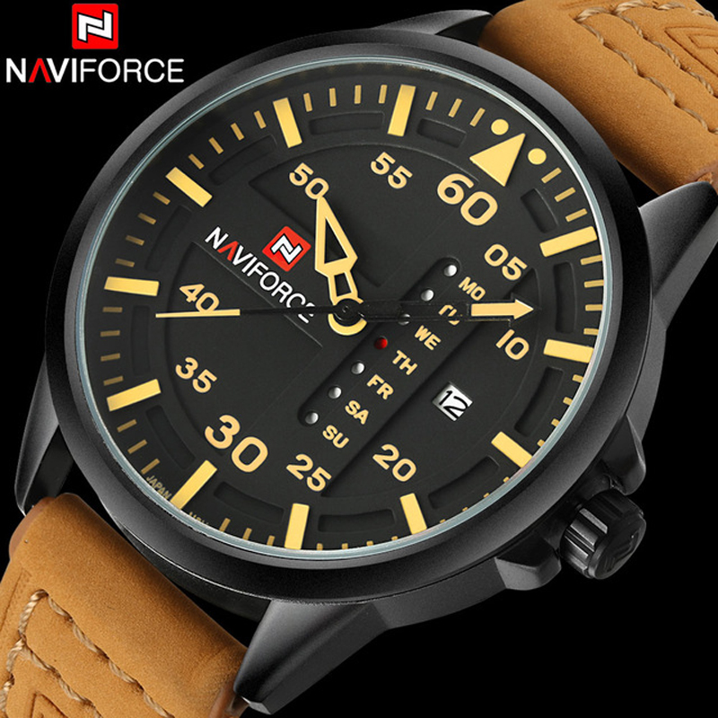 Mens Watches Top Brand Luxury NAVIFORCE Casual Sport MIlitary Quartz Watch Leather Strap Waterproof Watch Relogio Masculino oulm mens designer watches luxury watch male quartz watch 3 small dials leather strap wristwatch relogio masculino