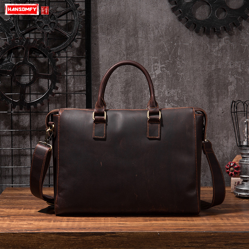 Business crazy horse leather men's briefcase large capacity official handbag portable male 15 inch laptop shoulder messenger bag