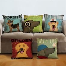 Golden Yorkie Dog Animal Decorative Office Chair Velvet Cushion Cover Home Decor Vintage Sofa Throw Pillow Case 45x45cm e827