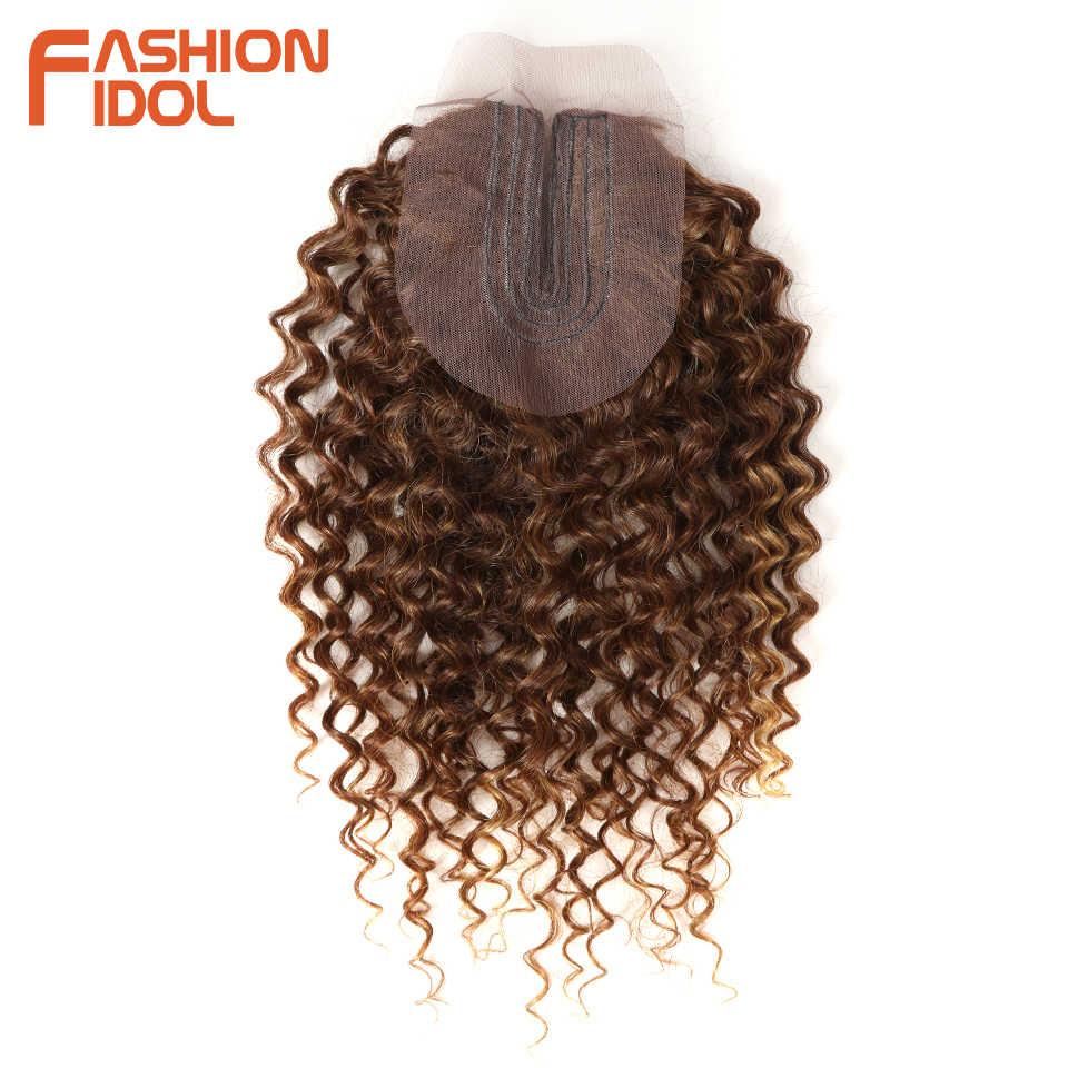 Pelo Rizado Afro ídolo de moda 16-20 pulgadas 7 unids/lote de pelo sintético de media malla con división mechones de cierre frontal con cierre de 240g