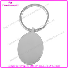 IJK0038 Customized Engraved Oval ID Key Rings Stainless Steel Personalized Blank Key Chain Gift
