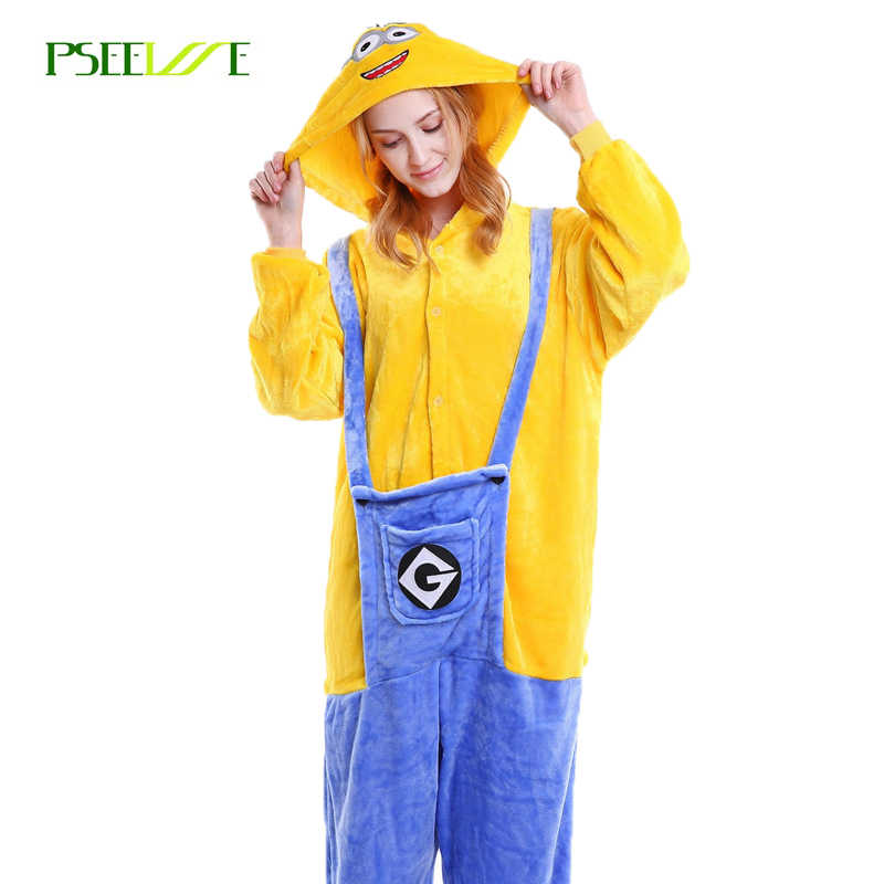 0997b2155 Flannel Adult Pyjamas Women Men Cosplay Animal Cartoon Sleepwear Women's  Sleep Lounge Onesies costume adulte Minion