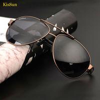 KisSun Brand Masculine Mens Oversized Sunglasses Black Gray Cinnamon Polarized Shades Vintage Outdoor Driver Fishing Sun