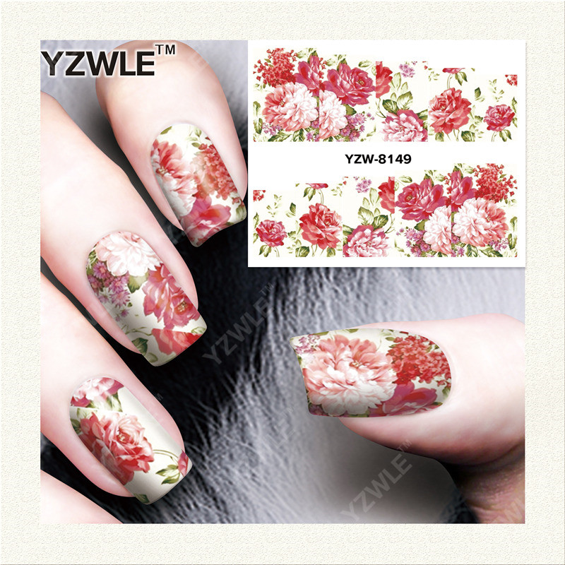 YWK 1 Sheet DIY Designer Water Transfer Nails Art Sticker / Nail Water Decals / Nail Stickers Accessories (YZW-8149) f lashes 50pcs set starry sky star nail sticker art nail gel water transfer stickers decals tip decoration diy nails accessories