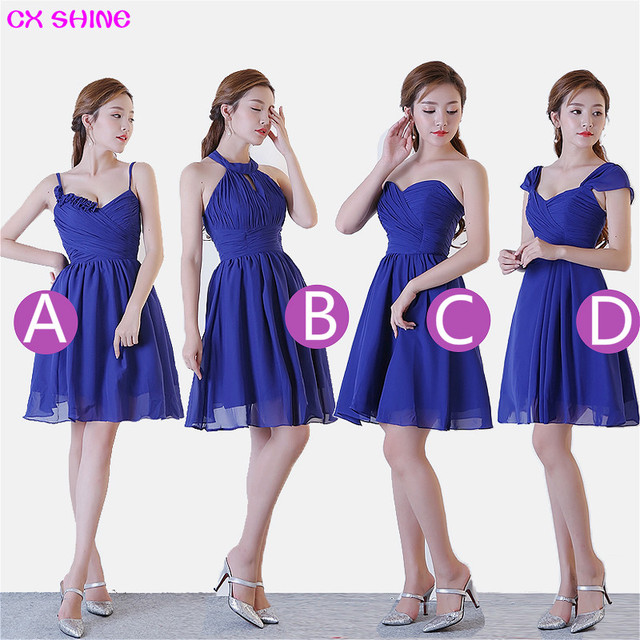CX SHINE New Custom Color Size Sweet 4 Style Blue Short Bridesmaid Dresses  Colors Wedding Dress
