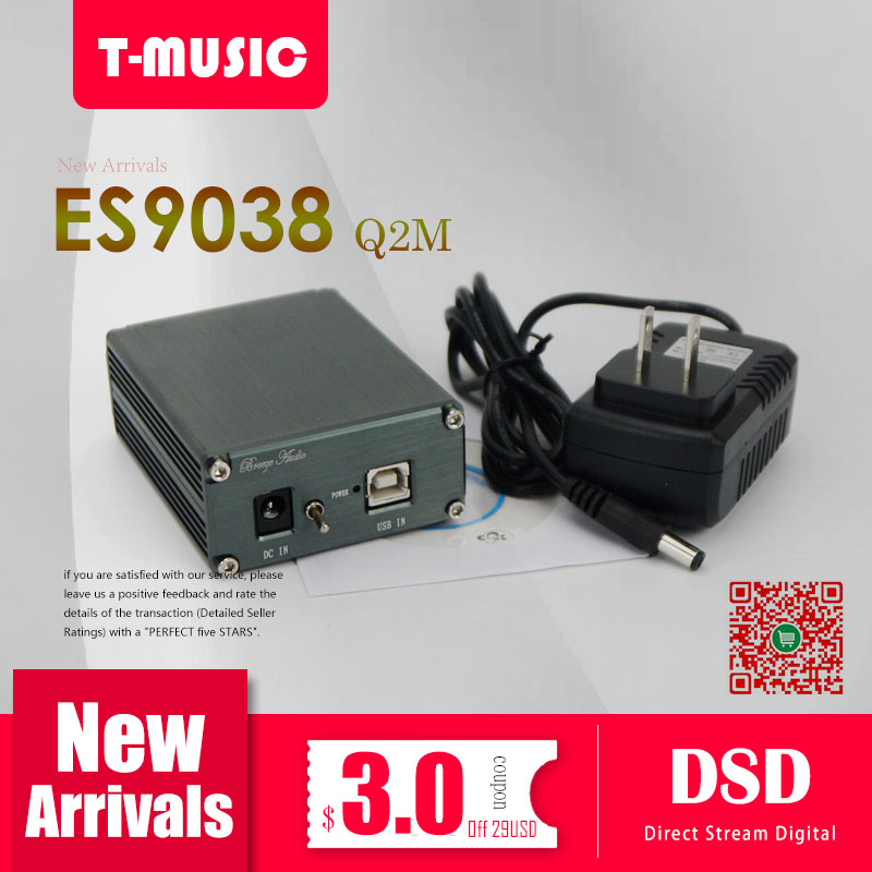 T-Music MiNi HiFi DAC ES9038Q2M XMOS XU208 USB DAC Decoder W/ 3.5mm Headphone Output + Power adapter
