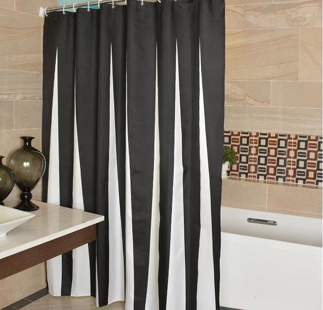 Fyjafon Bathroom Shower Curtain Polyester Fabric Bath Waterproof Moldproof Black White Strips