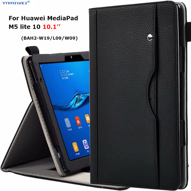 """Luxury Stand Case For Huawei MediaPad M5 lite 10 BAH2 W19/L09/W09 10.1"""" Tablet Cover With Hand Belt For Huawei M5 Lite 10 Case"""