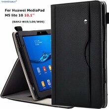 """화웨이 MediaPad M5 lite 10 용 고급 스탠드 케이스 화웨이 M5 Lite 10 케이스 용 핸드 벨트가있는 BAH2 W19/L09/W09 10.1 """"태블릿 커버"""