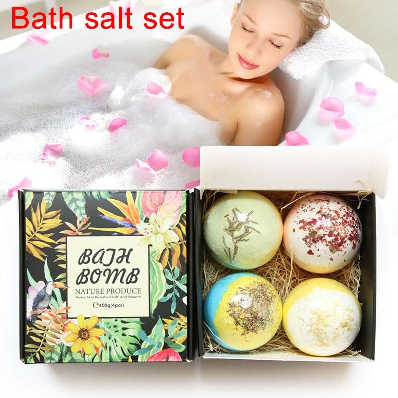 4pcs Bath Salt Bomb Ball Women Body Beauty Essential Oil Natural Bubble Whitening Moisturize Relaxation Gift Skin Care Bath Salt