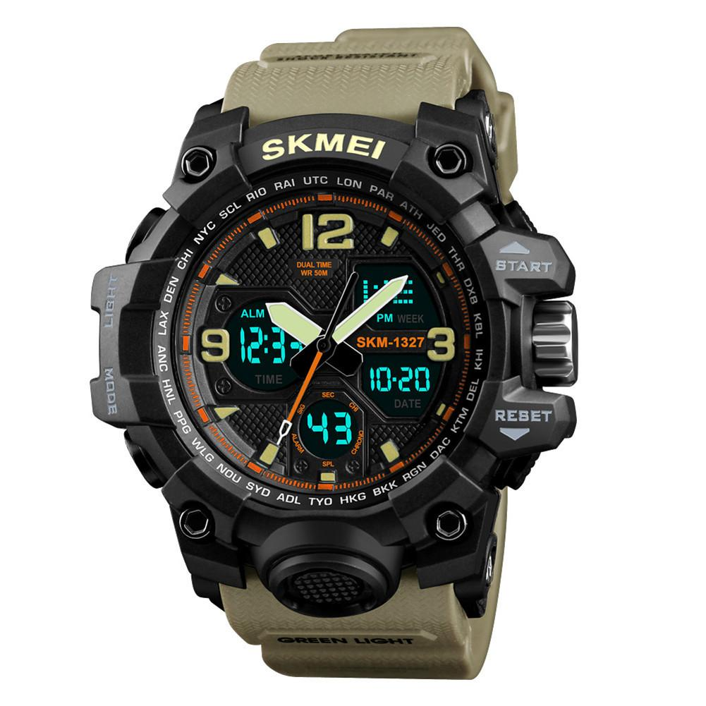 SKMEI Men Fashion Casual Wristwatch 2 Time Display Chronograph 50M Waterproof Watches Outdoor Sports Watch