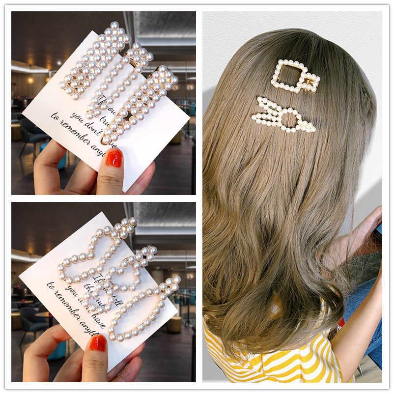 1 Set Pearl Hairpin Korean Hot Sale Hair Clip Temperament 2019 NEW Popular Headdress For Lovely Girls Hairband Bobby Barrette