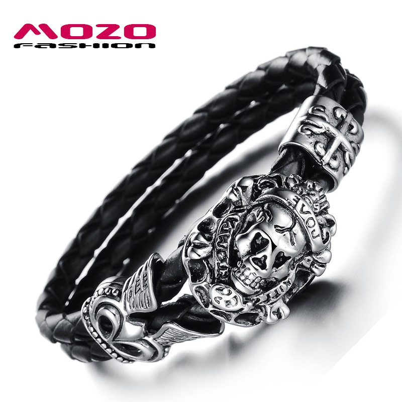 MOZO FASHION Men Bracelet Stainless Steel Skull Bracelets Black Synthetic Leather Rope Hand Bracelet Male Vintage Jewelry LPH845