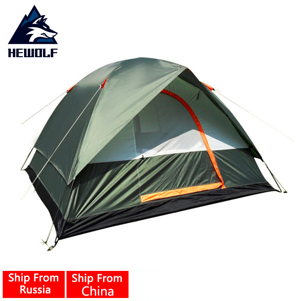 Hewolf 4 Peoples Waterproof Outdoor Camping Hiking Polyester Oxford Cloth Dual Layers Tent Travel Tent oliver peoples оптические очки tolland