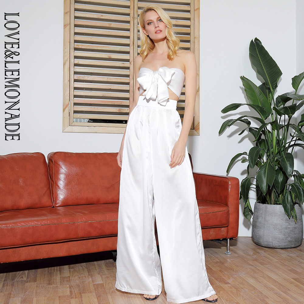 LOVE LEMONADE White High Waist Bell Two Pieces Set LM6473