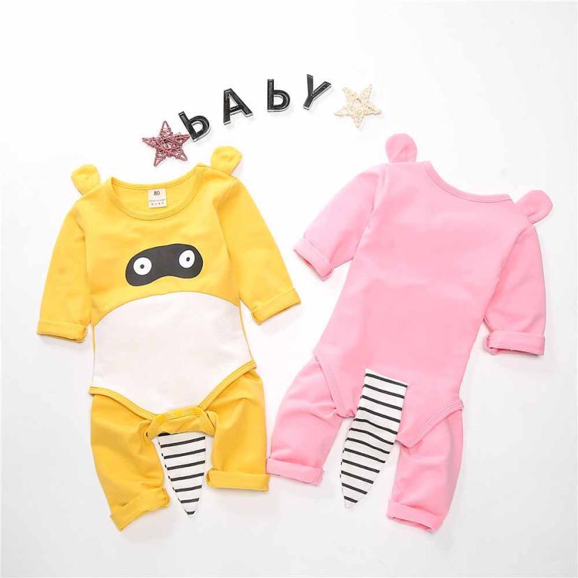 6 м-24 м милая Одежда наборы для новорожденных Одежда для детей; малышей; девочек с персонажами из мультфильмов для мальчиков комбинезон с при...