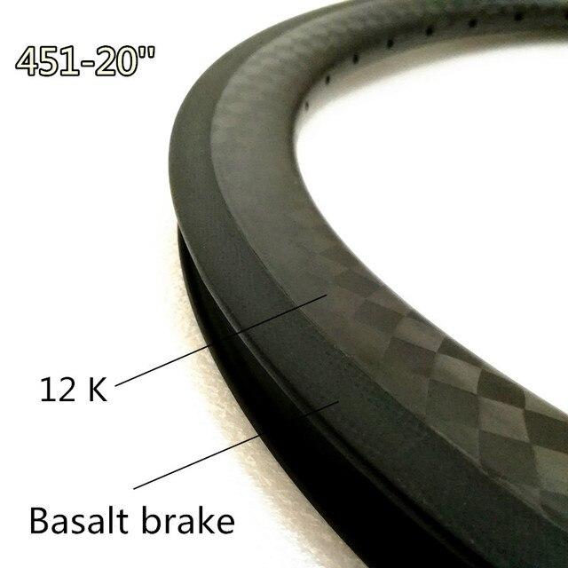 451 Carbon Wheel 16 36 Holes BMX Bicycle Wheels 12K Surface Folding Bike  Bmx 20