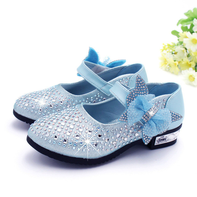 New Spring Girls Shoes Rhinestone Glitter Leather Shoes For Girls Children Princess Shoes With Dimond 4 Colour Eu 26-36