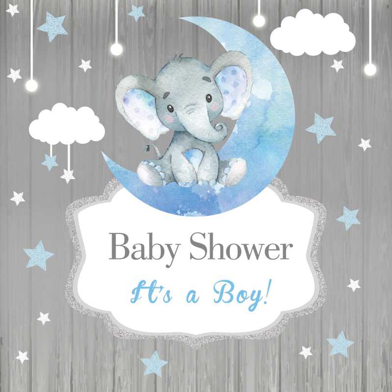 Elephant Baby Shower Backdrops For Photography Moon Star Party Banner Portrait Photographic Backgrounds Photocall Photo Studio