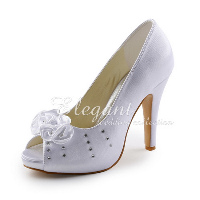 b4234a6553f9 EP11035 IP Elegant Bridal High Heel Shoes White Peep Toe Flower Rhinestone  4.5inch Stiletto Heel Platform Satin Wedding Pumps-in Women s Pumps from  Shoes on ...