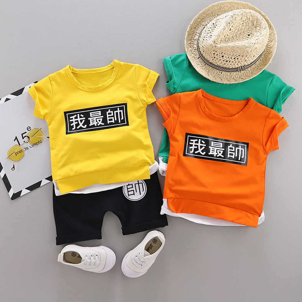 Summer Kids Baby Boys Girl Clothes Fashion Chinese character printing Outfits T shirt Tops Shorts Toddler  Clothes Set #19617