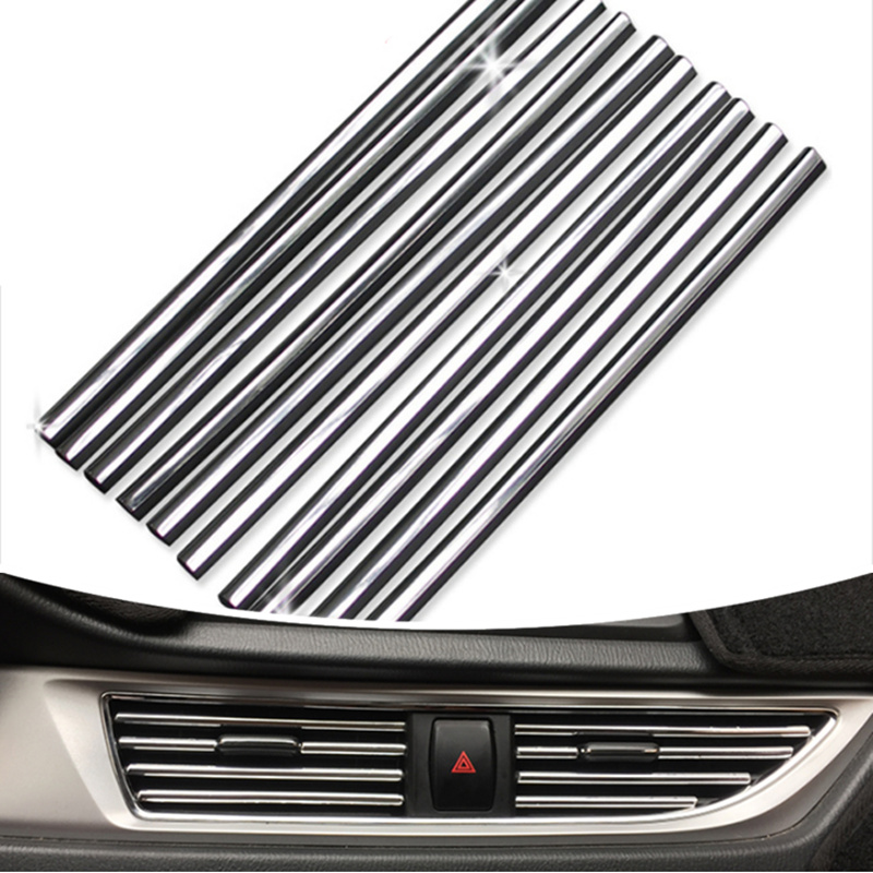 Car styling U Shaped DIY Air Conditioner Outlet Decoration Strip for <font><b>BMW</b></font> 1 3 4 5 7 Series X1 X3 X4 <font><b>X5</b></font> X6 E60 E90 <font><b>F15</b></font> F30 F35 image