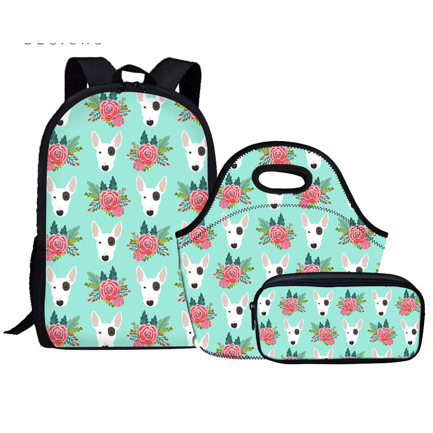 Children School Bags Set for Girls Boys Bull Terrier Orthopedic Backpack Schoolbag kids Primary Students Pen Box Lunch Bags Sets