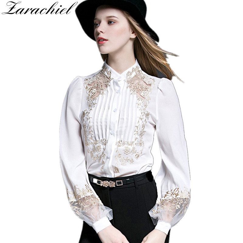 Zarachiel Plus Size Cotton Linen Blouse Spring Summer Women Office Embroidery Hollow Out Long Sleeve Stand Stitching Shirt Tops