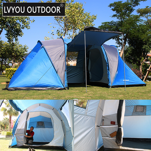 LVYOU OUTDOOR 2+2 Person + Living room with front sun canopy. 4 seasong & LVYOU OUTDOOR 2+2 Person + Living room with front sun canopy. 4 ...